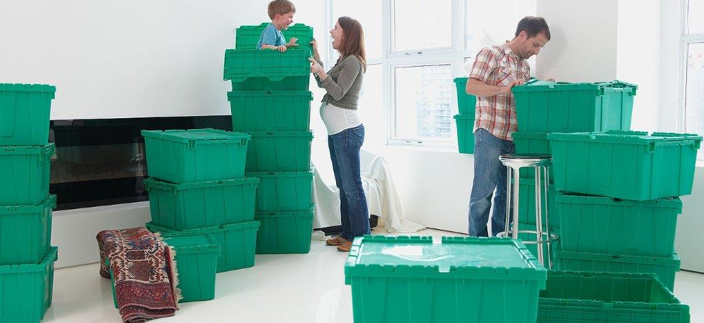 Green moving boxes